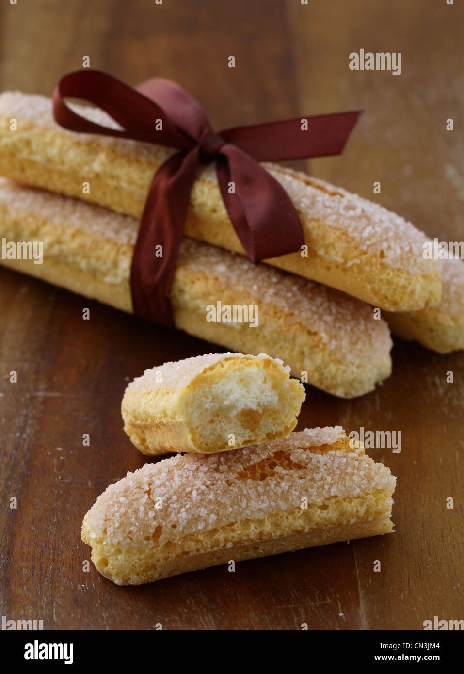Traditional Italian cookies  savoiardi - Stock Image