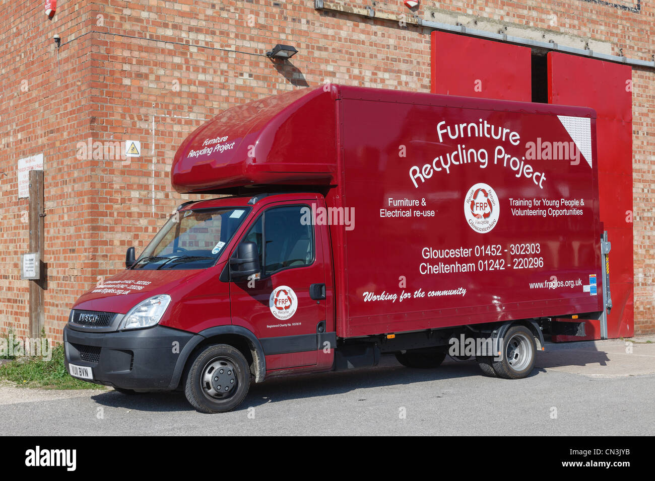Gloucester, Gloucestershire, England, UK. Furniture Recycling Project  Removal Van Outside The Warehouse