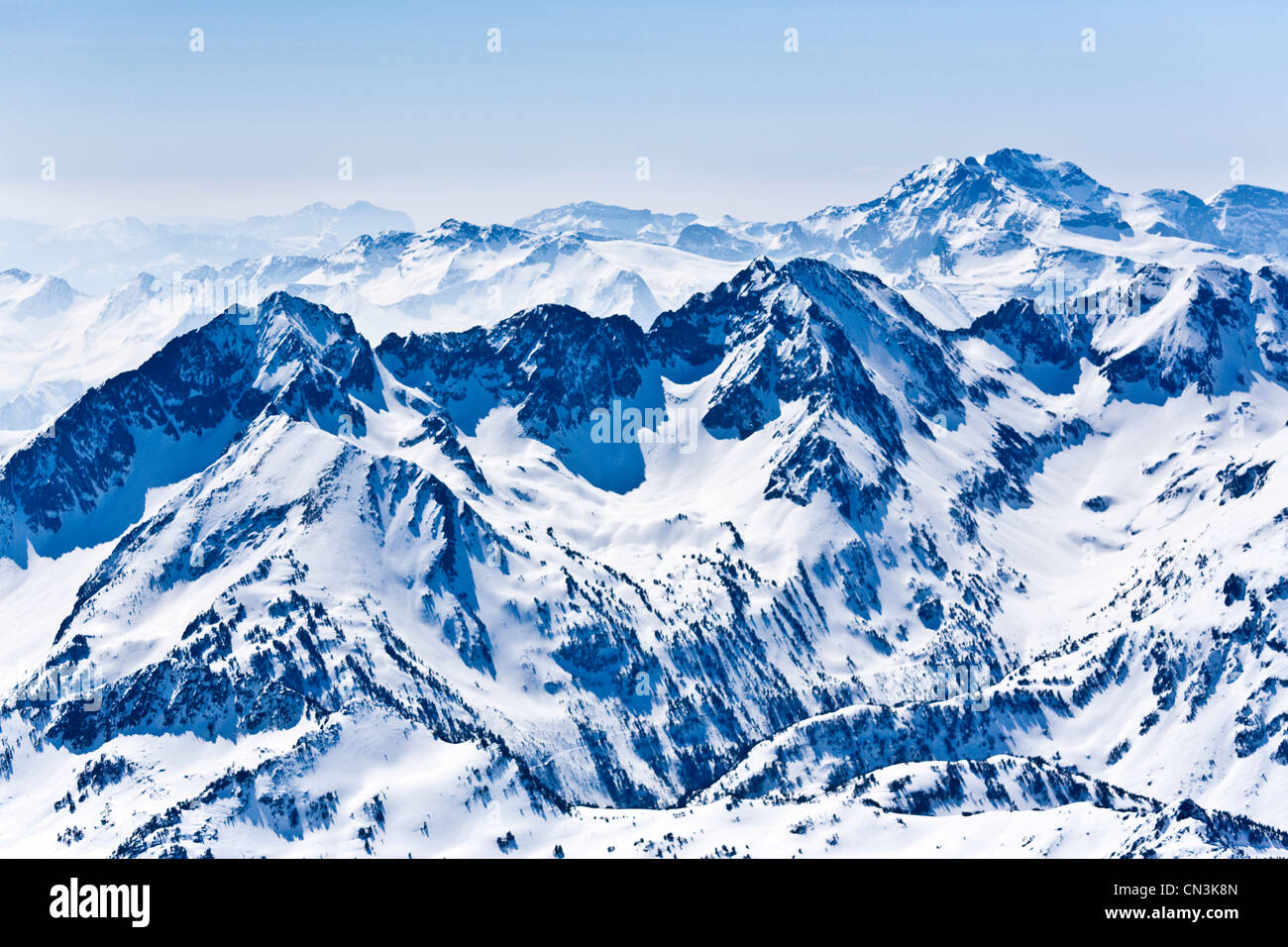France, Hautes Pyrenees, Bagneres de Bigorre, near the Pic du Midi (aerial view) - Stock Image