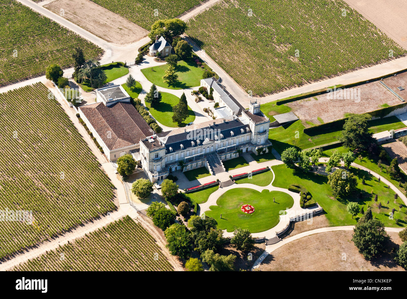 France, Gironde, St Julien Beychevelle Beychevelle castle winery (aerial view) - Stock Image