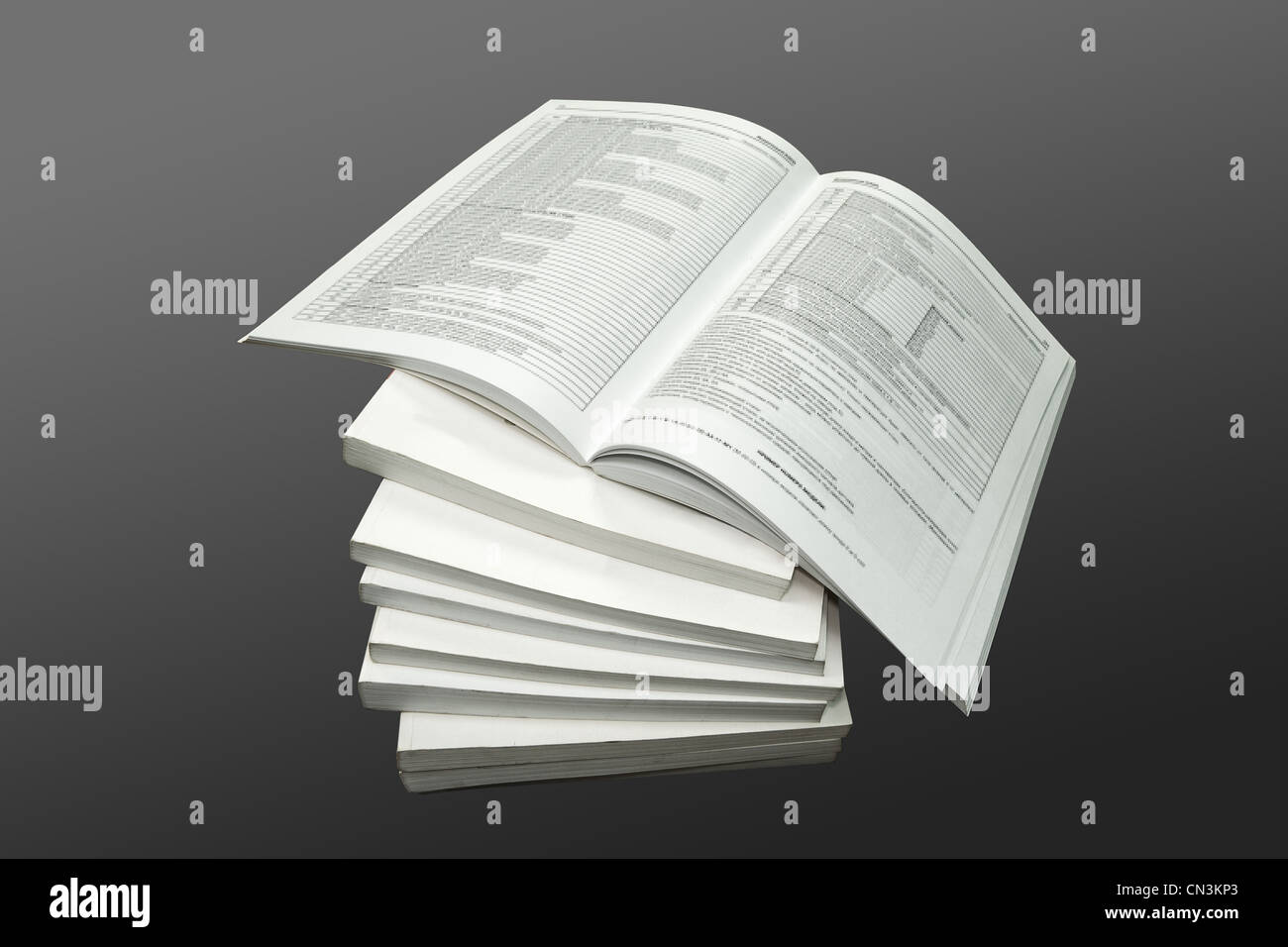 3d, books, communication, education, information, learning, literacy, literature, objects, on grey, open, page, - Stock Image