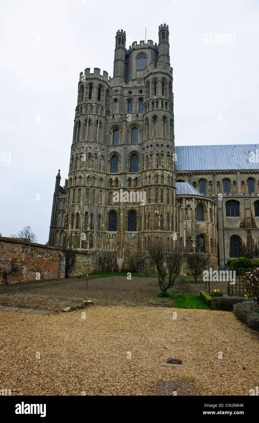 Ely Cathedral The total length is 537 feet and the nave at over 250 ft long,remains one of the longest in Britain.Cambridgeshire - Stock Image