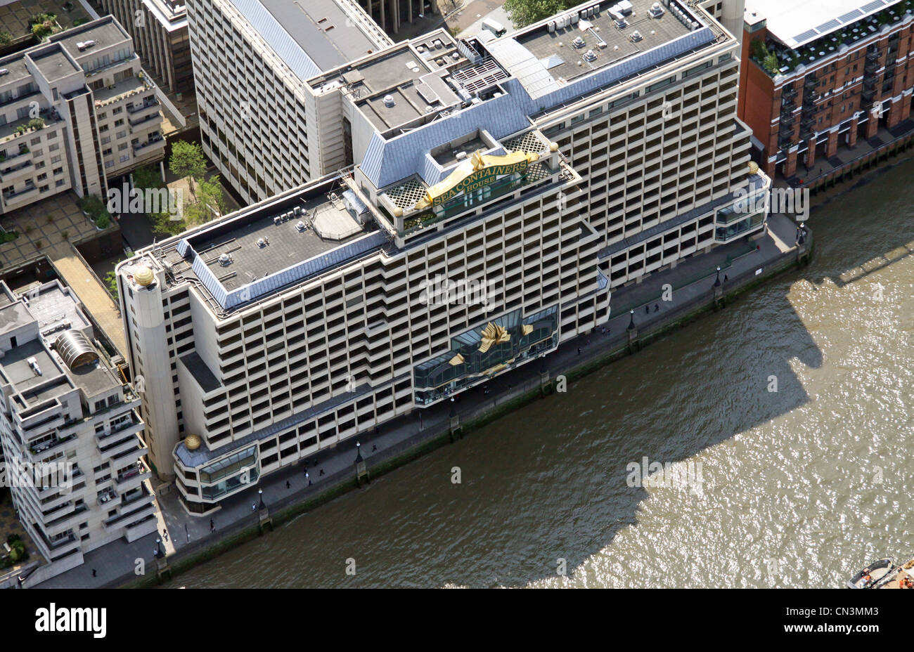 Aerial view of Sea Containers House, River Court, Upper Ground, London SE1 - Stock Image