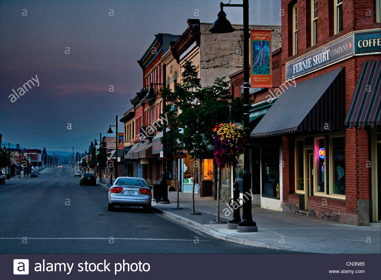 Downtown Street in Fernie, British Columbia - Stock Image