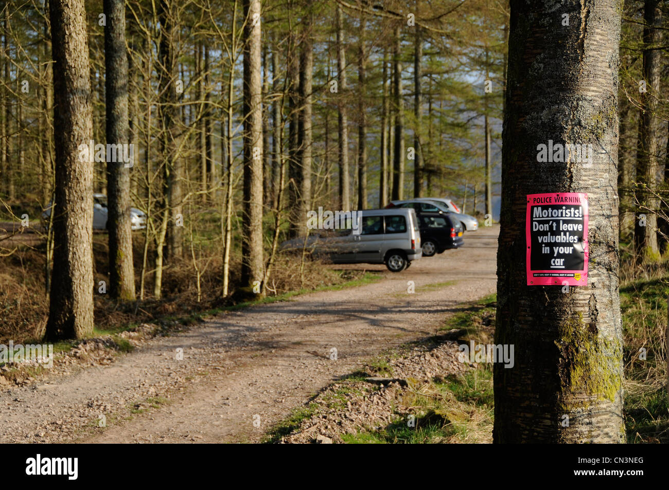 Police warning sign on a tree - Stock Image