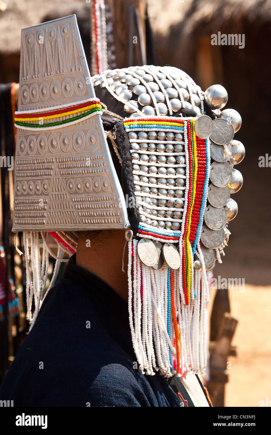 Myanmar (Burma), Shan state, Kyaing Tong, Akha lady silver head jewels - Stock Image