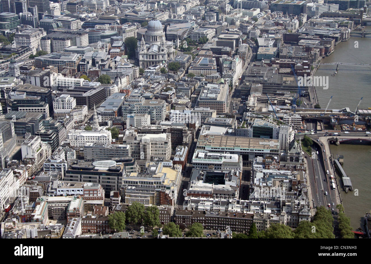 Aerial view of Tudor Street, Blackfriars, looking east along the north bank of the Thames, London - Stock Image