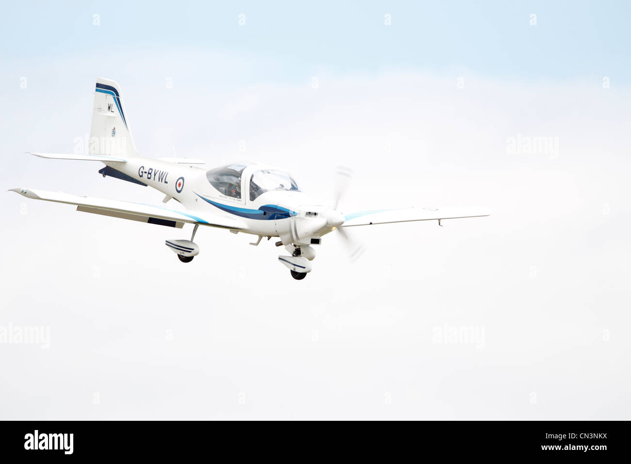 Grob G 115 is an advanced general aviation fixed-wing aircraft, primarily used for flight training. It is built - Stock Image