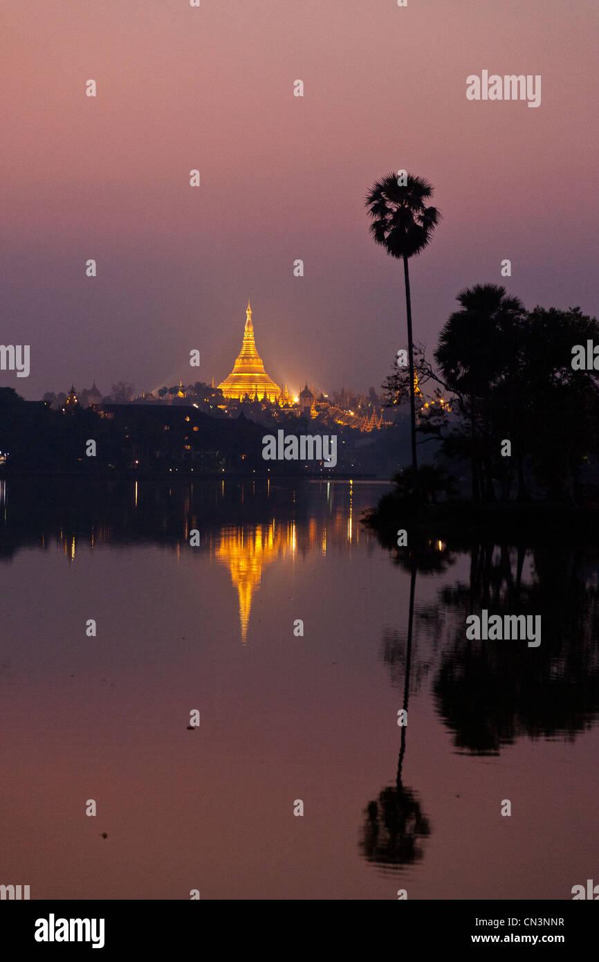 Myanmar (Burma), Yangon division, Yangon, Shwedagon pagoda by night - Stock Image