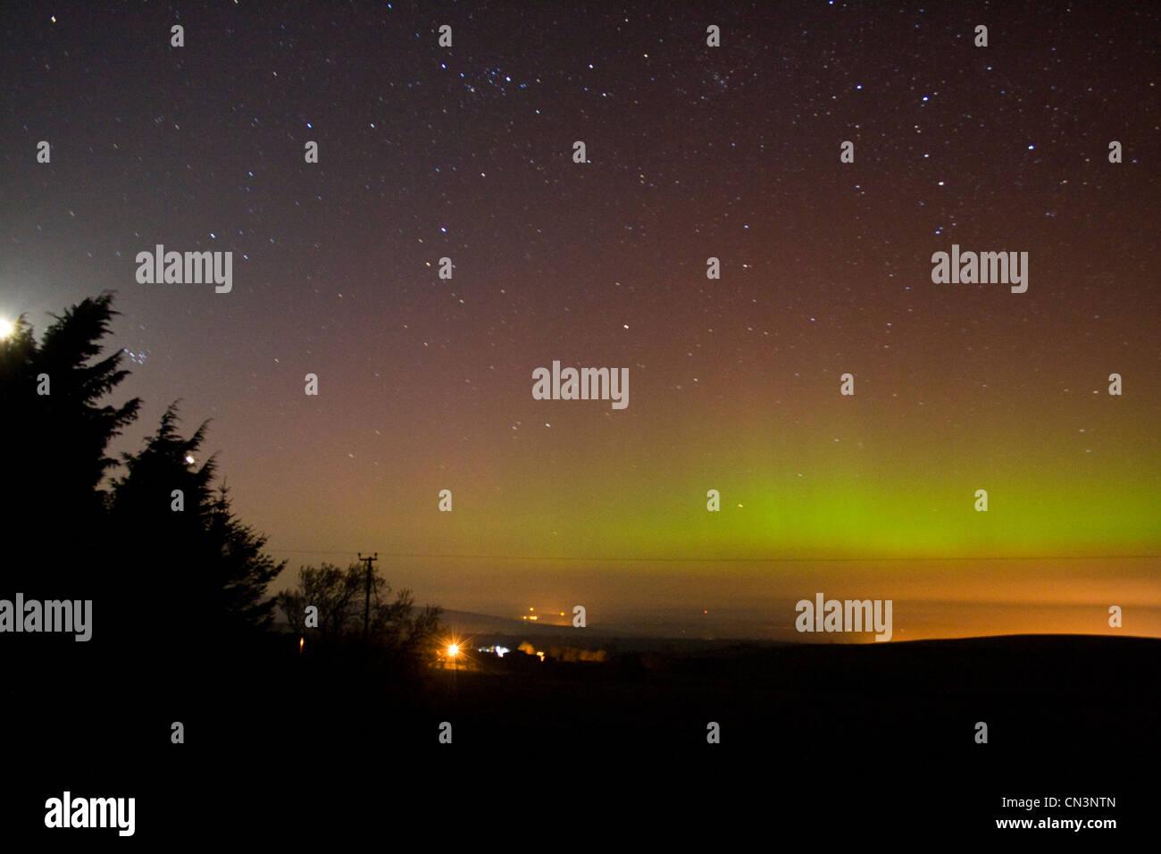 Northern Lights over Northumberland UK - Stock Image