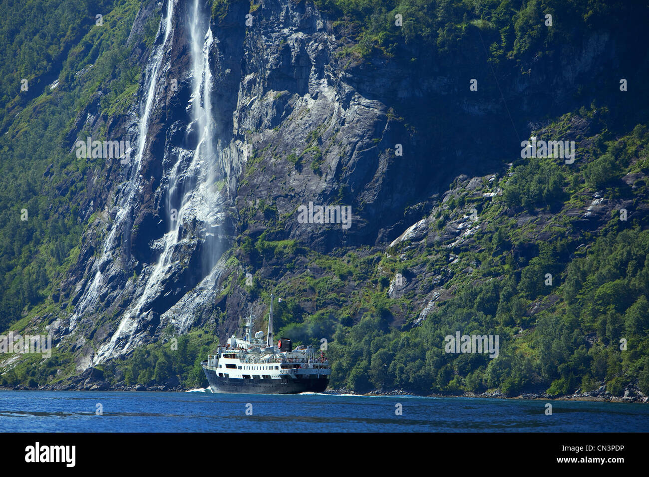 Norway, Sunnmore Region, More og Romsdal County, Geirangerfjord listed as World Heritage by UNESCO, MS Lofoten Hurtigruten - Stock Image