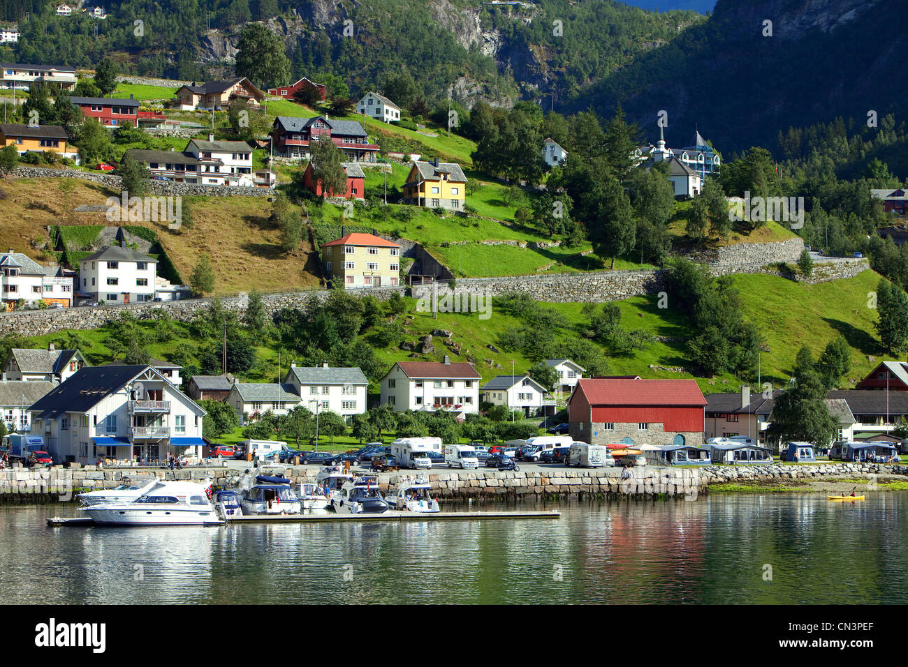 Norway, Sunnmore Region, More og Romsdal County, Geirangerfjord listed as World Heritage by UNESCO, Geiranger - Stock Image