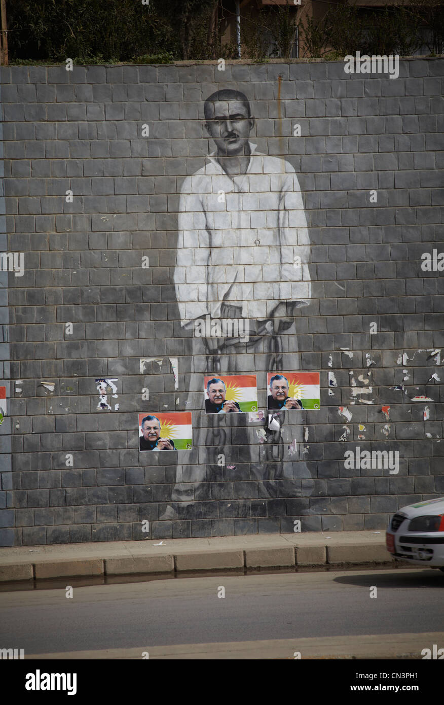 Paintings on the walls  of important events and personalities in Suleimaniya in Iraqi Kurdistan - Stock Image