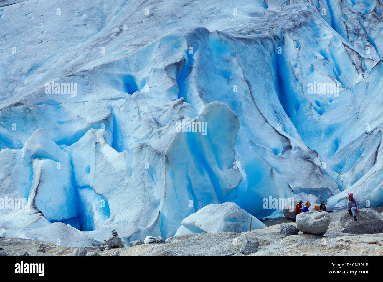 Norway, Sogn og Fjordane County, Sognefjord, Jostedalen Glacier (or Jostedalsbreen or Jostedal Glacier) - Stock Image