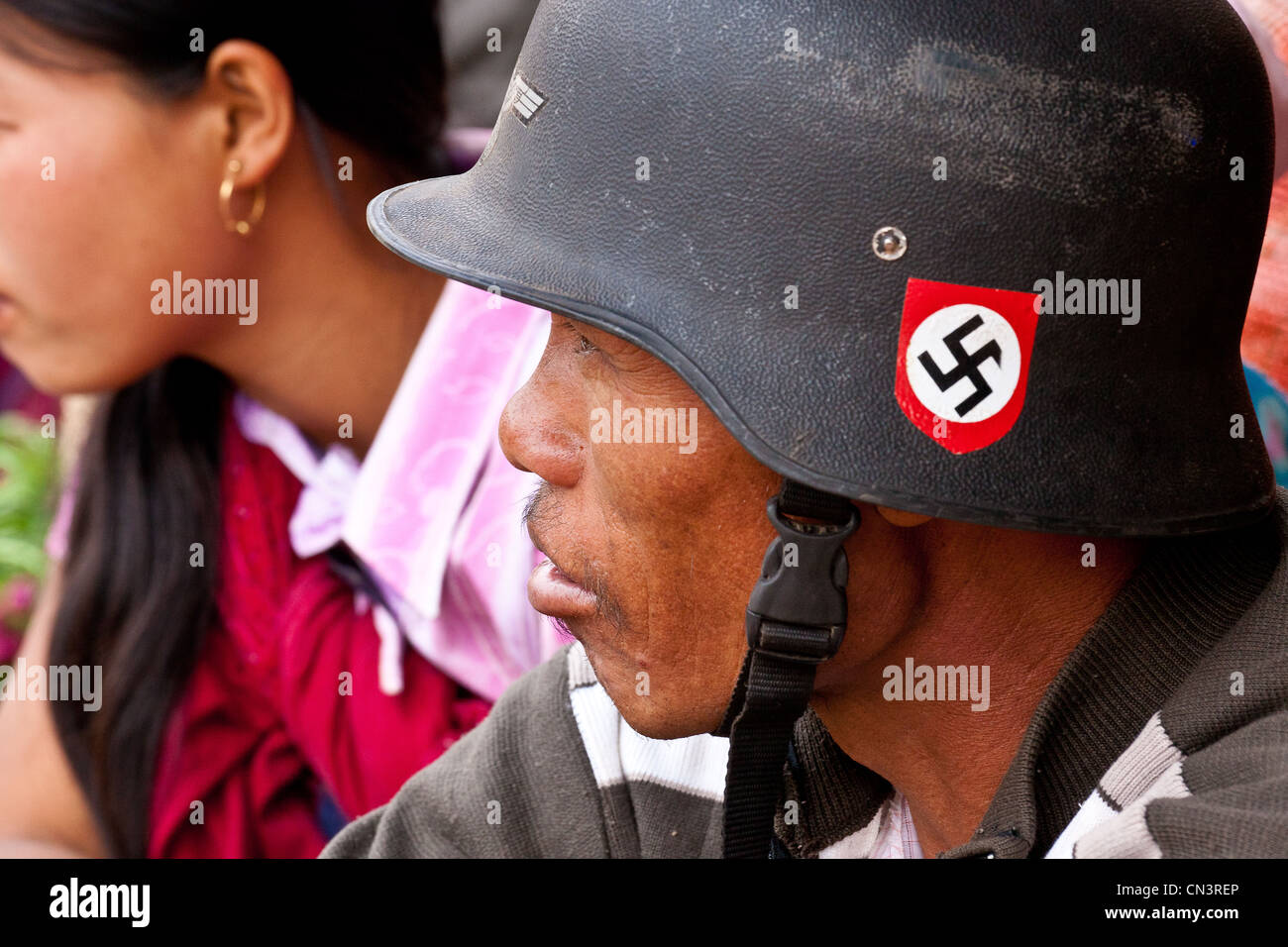 Myanmar (Burma), Shan state, Aungban, man with a motorcycle helmet Stock Photo