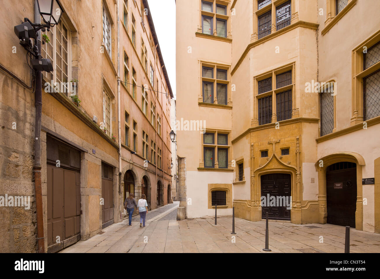 France, Rhone, Lyon, historical site listed as World Heritage by UNESCO, entrance of Musees de Gadagne in Rue Eronde - Stock Image