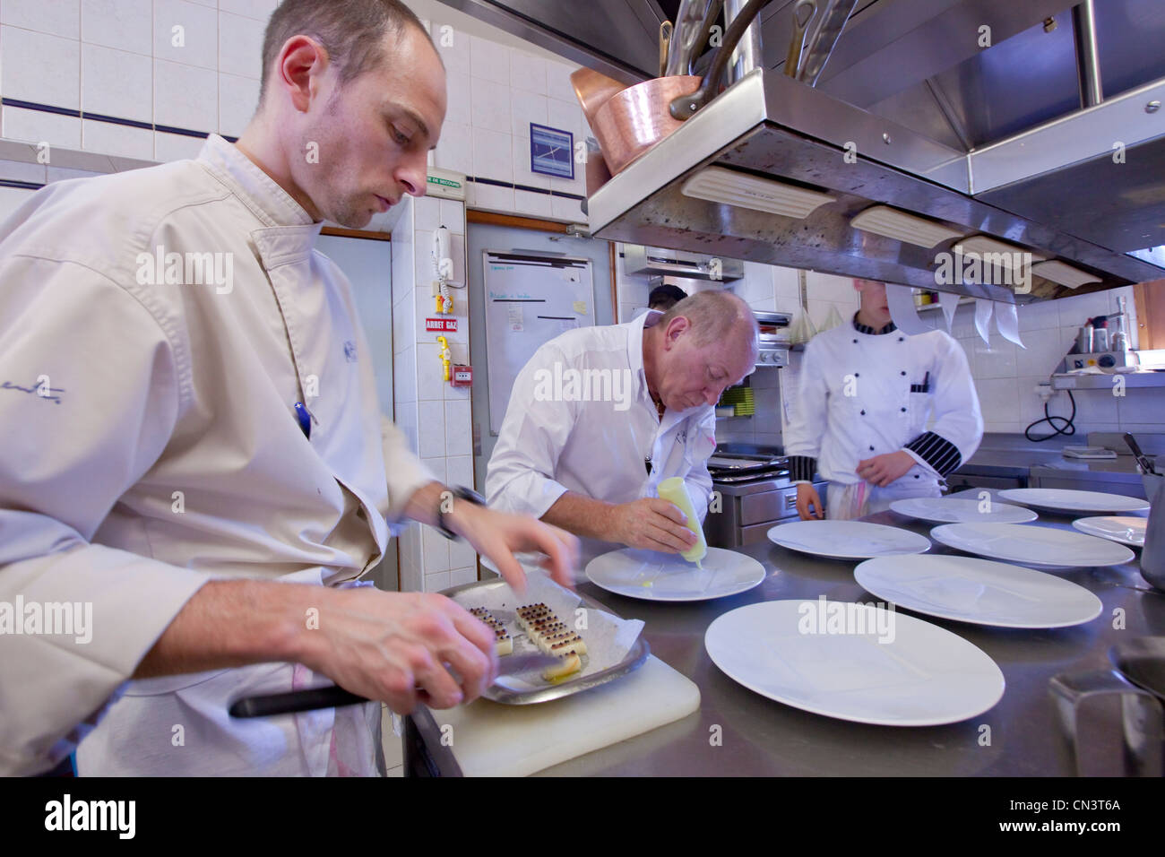 France, Savoie, St Martin de Belleville, hamlet of St Marcel, restaurant bar La Bouitte two stars to the guide Michelin, - Stock Image