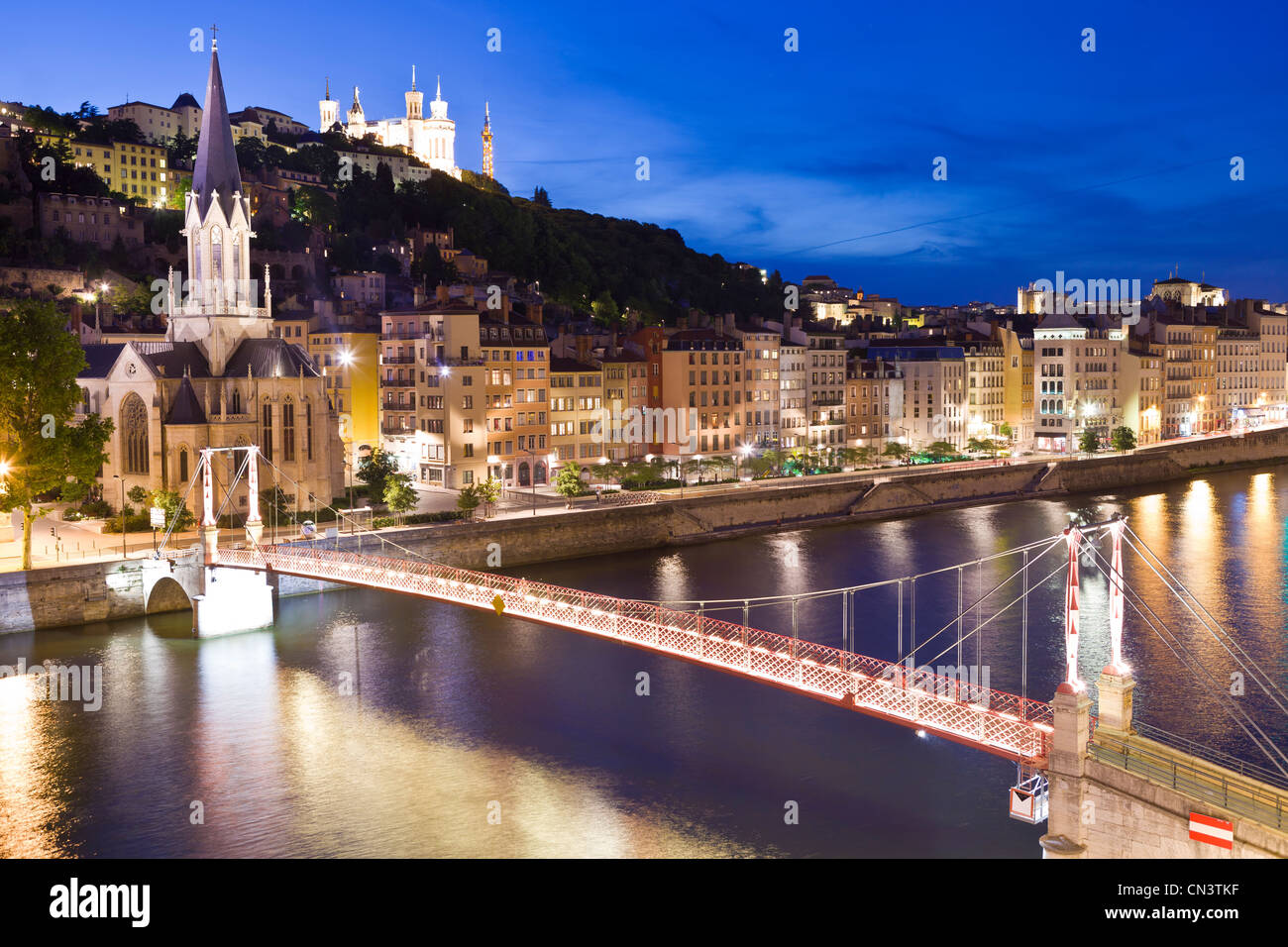 France, Rhone, Lyon, historical site listed as World Heritage by UNESCO, footbridge and St Georges Church over Saone - Stock Image