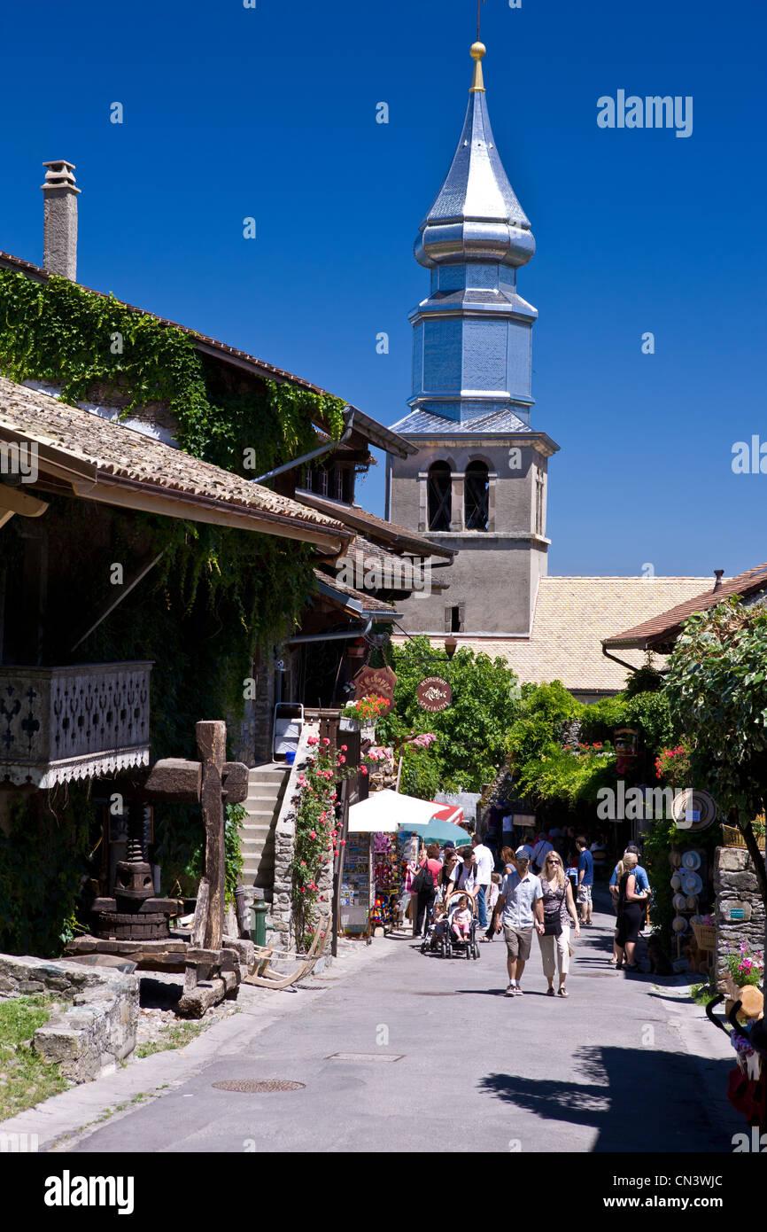 France, Haute Savoie, Yvoire, Leman Lake, labelled Les Plus Beaux Villages de France (the Most Beautiful Villages - Stock Image
