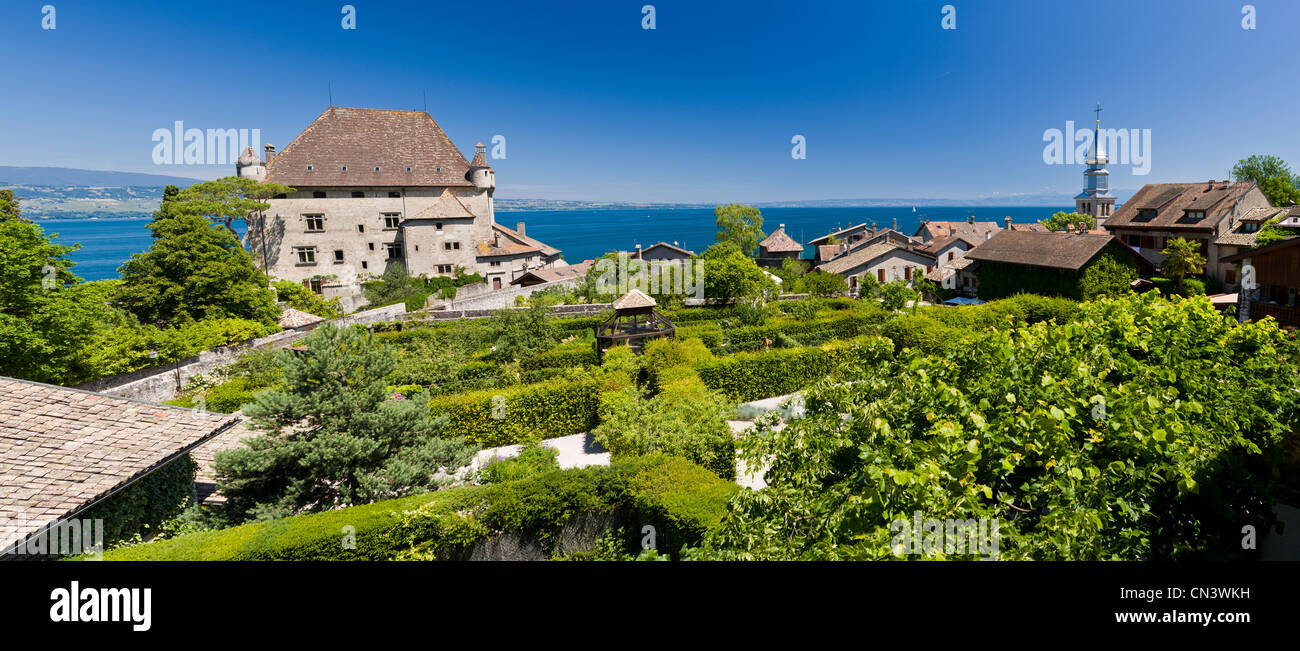 France, Haute Savoie, Yvoire, Leman Lake, labelled Les Plus Beaux Villages de France (the Most Beautiful Villages - Stock Image