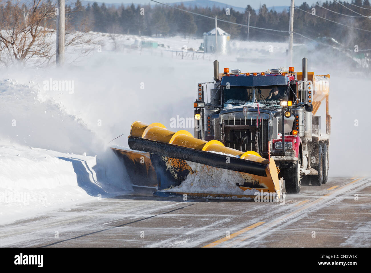 Canada, Quebec province, Charlevoix region, snow engine on a road - Stock Image
