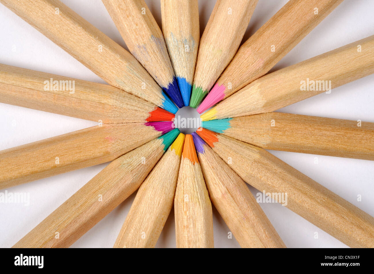 Colored pencils macro, can be used as a background - Stock Image