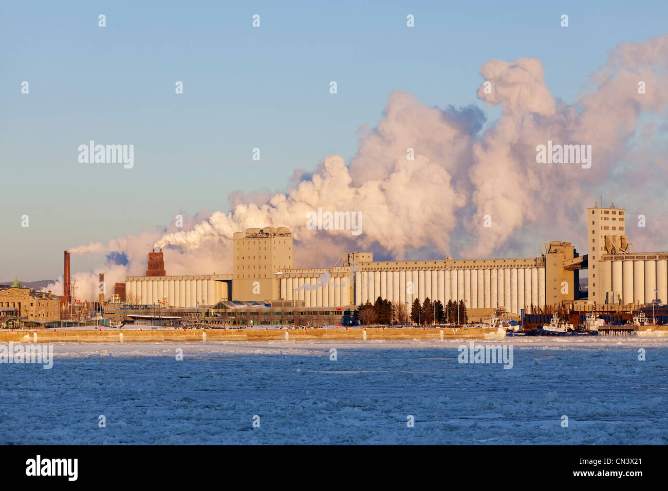 Canada, Quebec province, Quebec, the port and industrial silos, pulp and paper mill - Stock Image