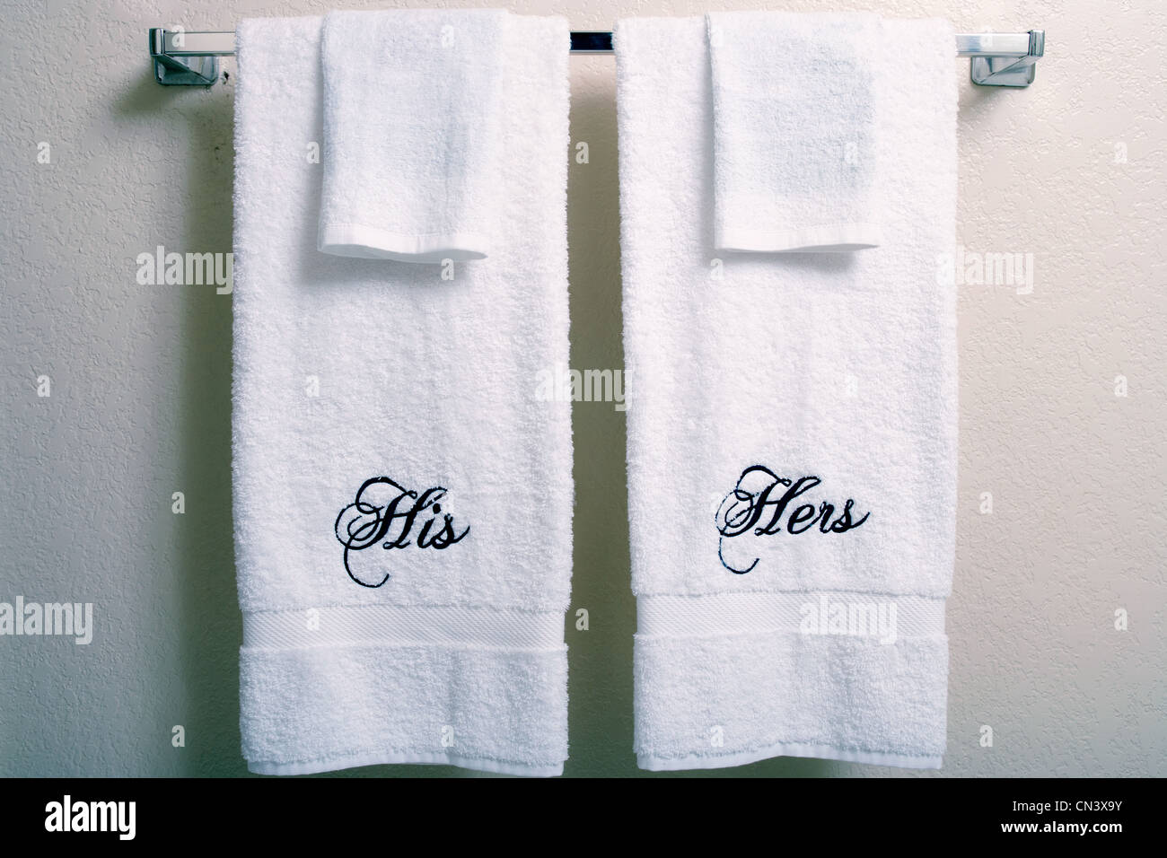 His and hers matching towels Stock Photo