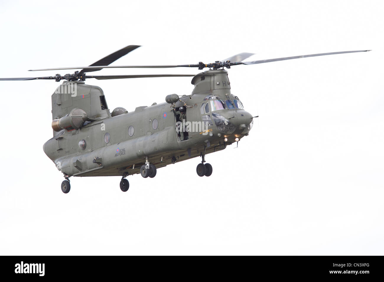 Boeing Chinook HC2, a tandem rotor helicopter Royal Air Force helicopter, RAF Waddington, Lincoln, International - Stock Image