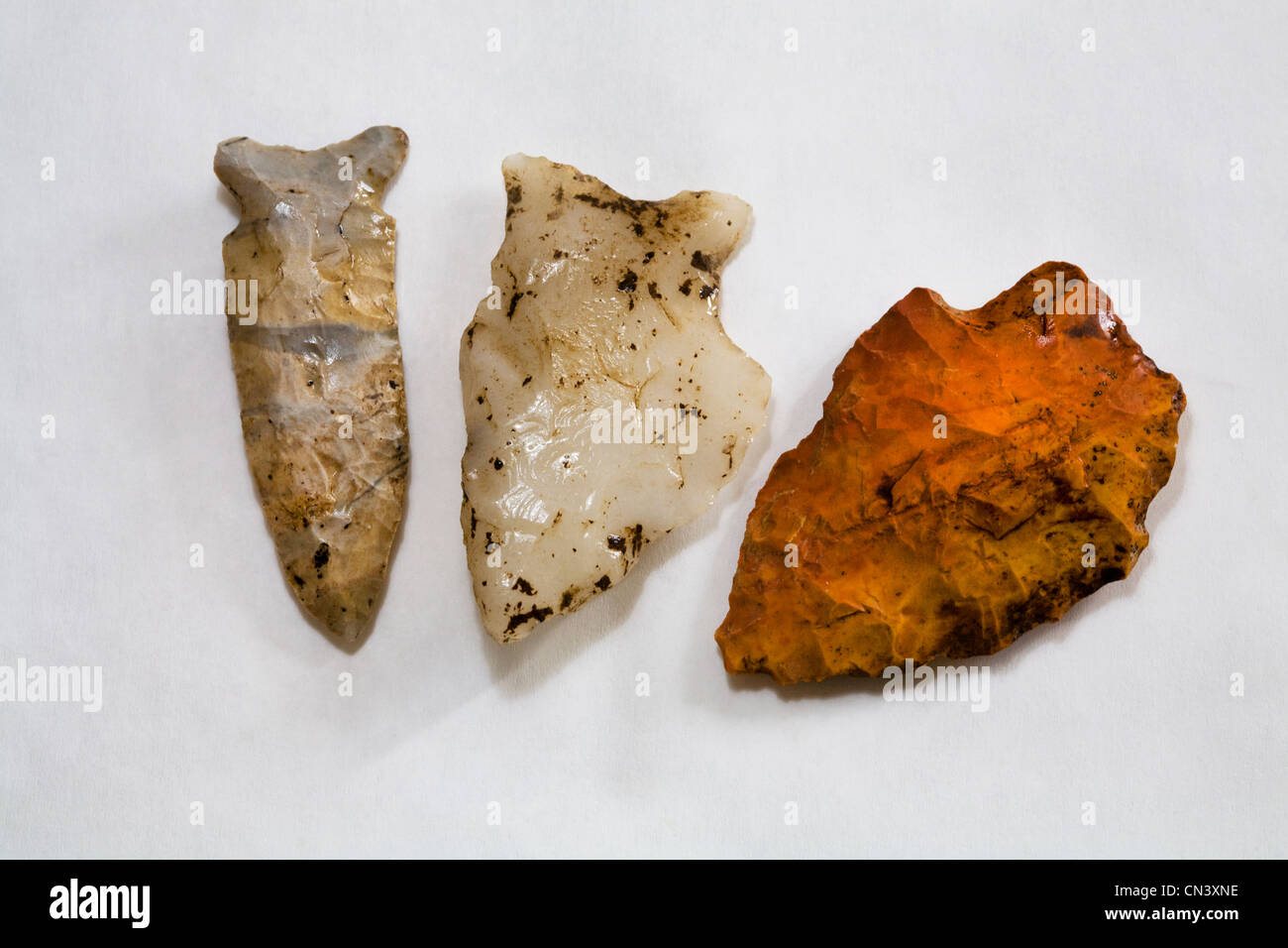 Three flint atlatl projectile points from the Desert Archaic Period in the American southwest - Stock Image