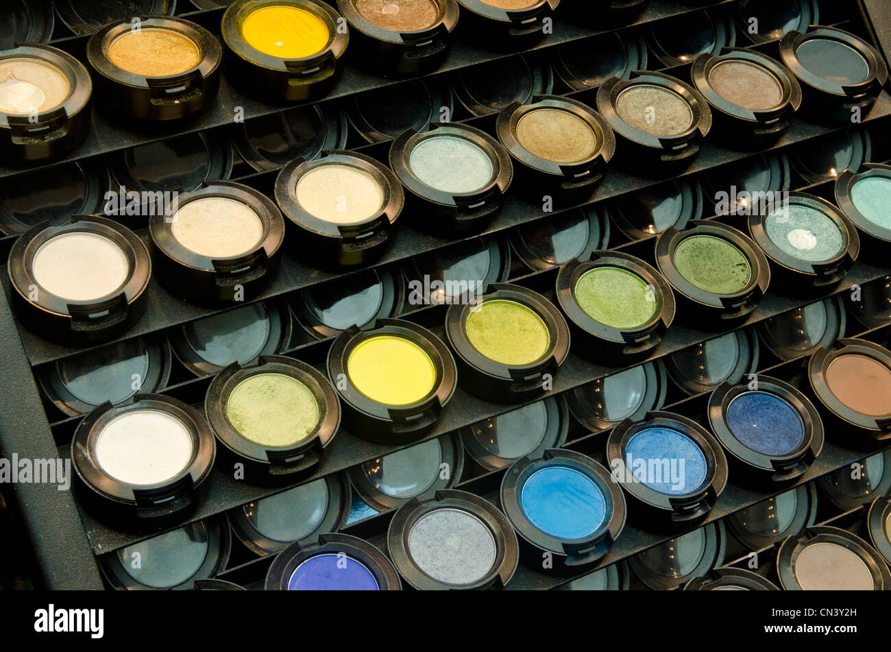 Close up of colorful eyeshadow palette group - Stock Image