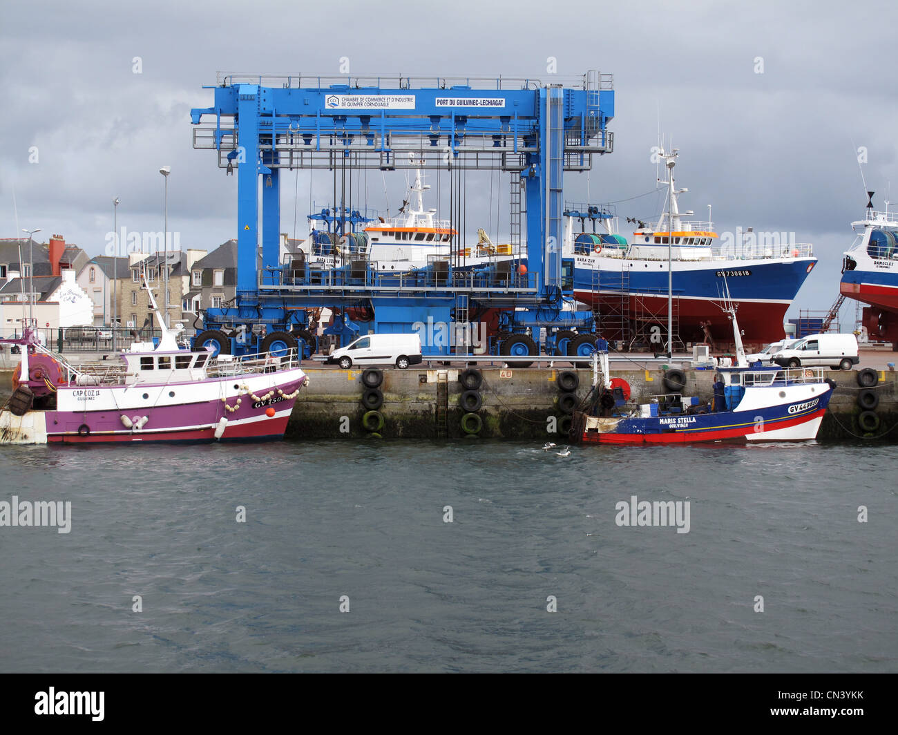 Fishing boats in shipyard,Le Gilvinec harbour,Brittany,Bretagne,Finistere,France - Stock Image