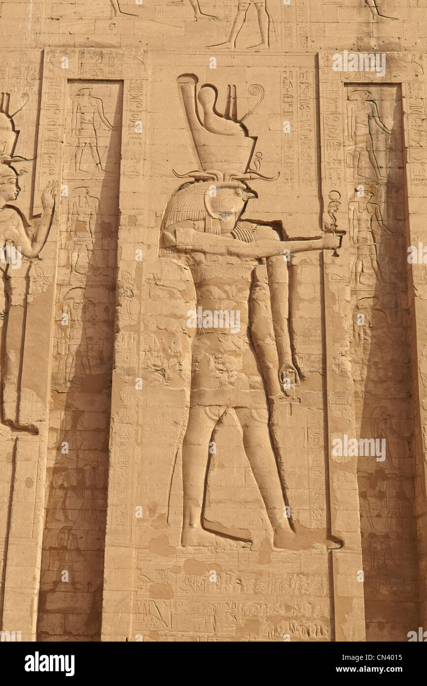 Egypt - Edfu, Temple of Horus, detail of relief of Horus, Edfu Temple - Stock Image