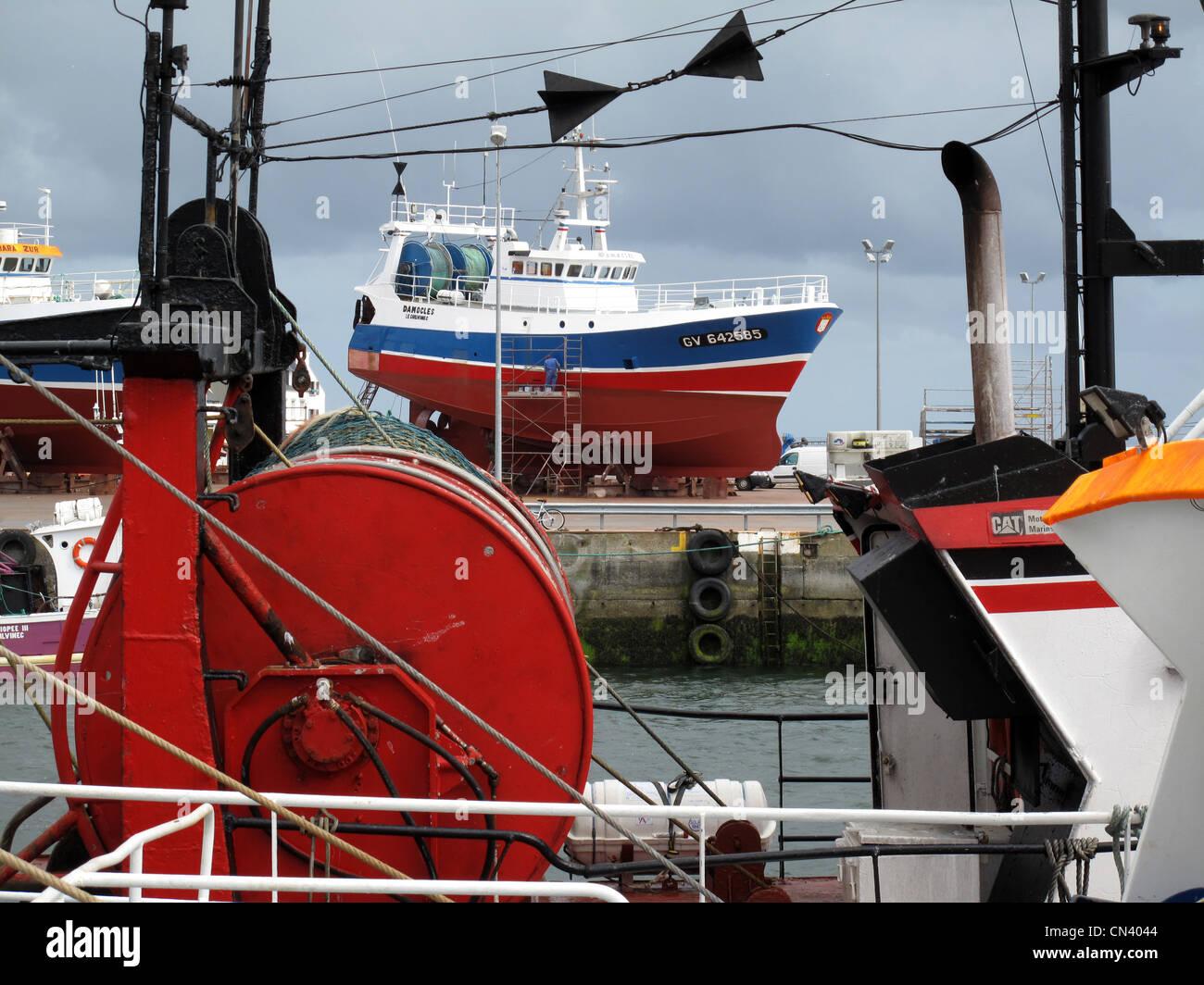 Fishing boats in shipyard, Le Gilvinec harbour,Brittany,Bretagne,Finistere, France - Stock Image