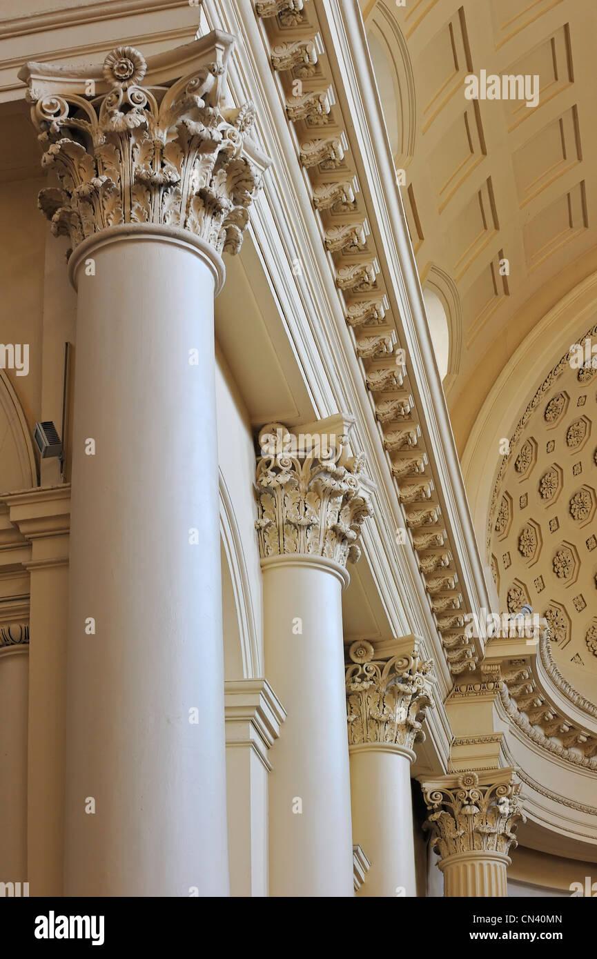 The Church of Saint Jacques-sur-Coudenberg showing Corinthian columns, Brussels, Belgium - Stock Image