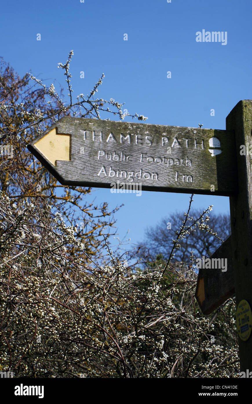 River Thames footpath wooden sign - Stock Image