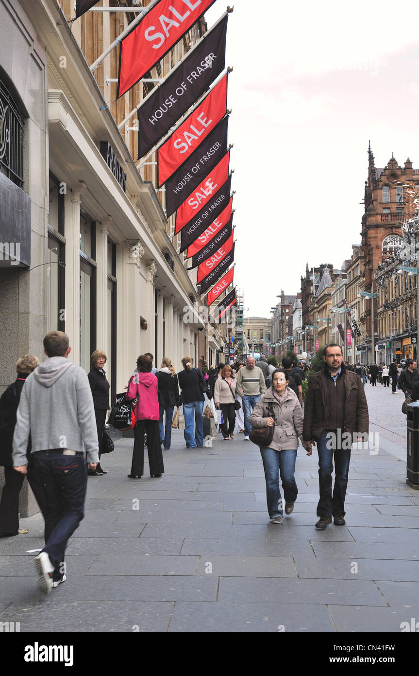 House of Fraser and sale flags adorn the store front in a busy Buchanan Street, Glasgow - Stock Image