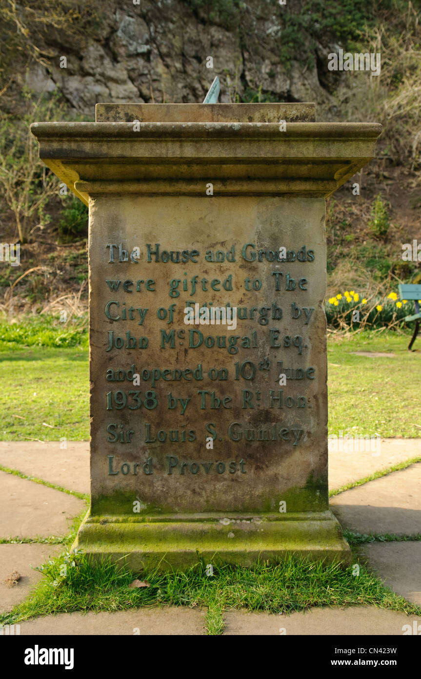 Inscription on the sundial base at Hermitage House Visitor Centre in ...