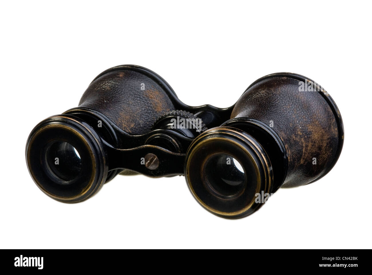 A very old pair of well worn opera glasses. - Stock Image