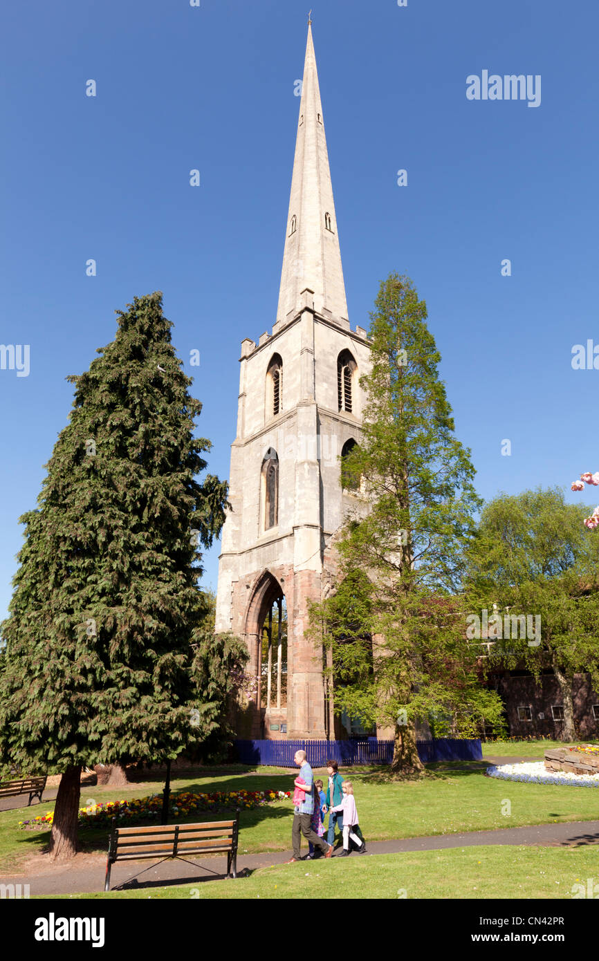Saint Andrew's Spire Worcester England - Stock Image