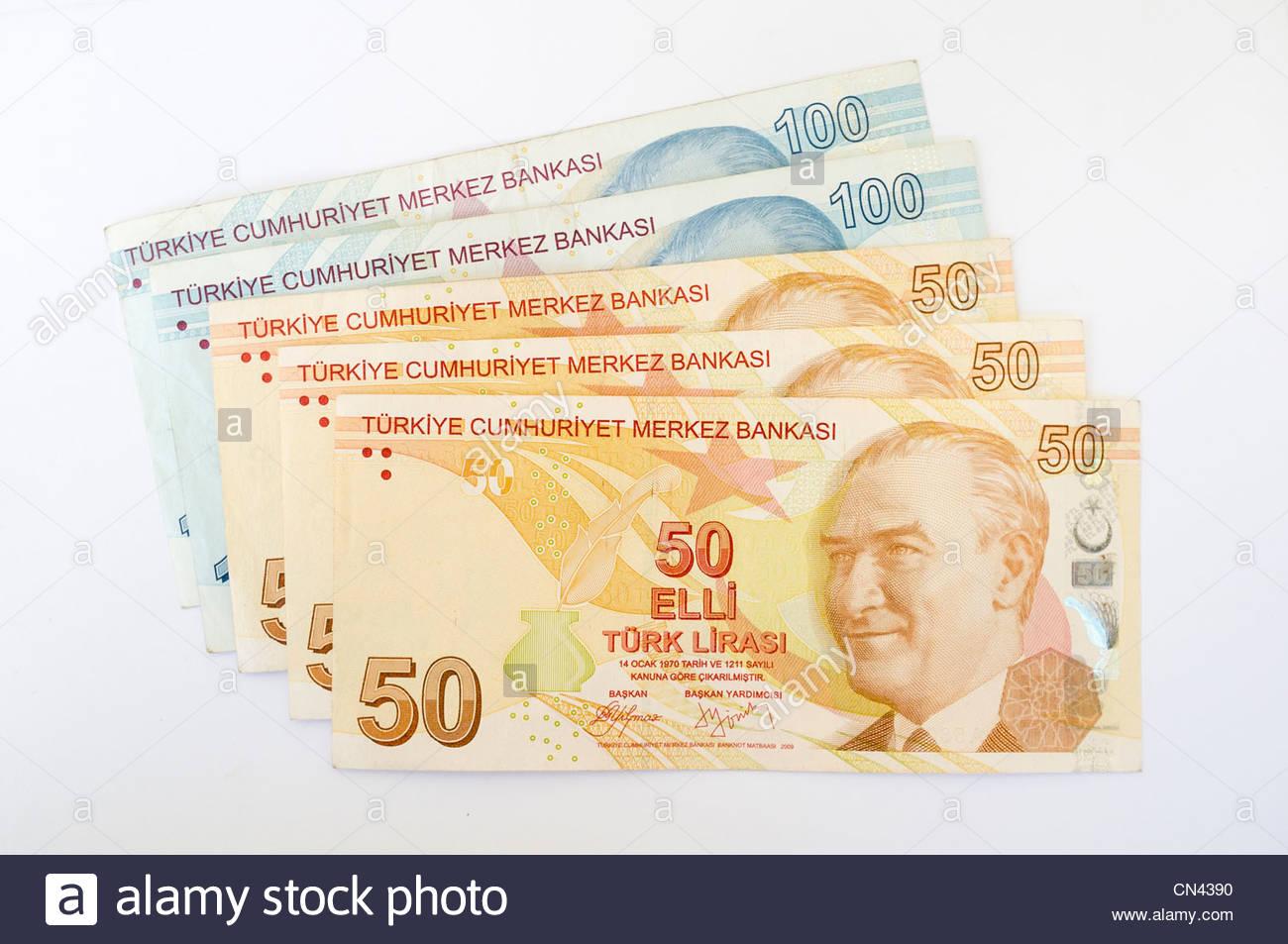 Turkish 50 and 100 lira bank notes Stock Photo