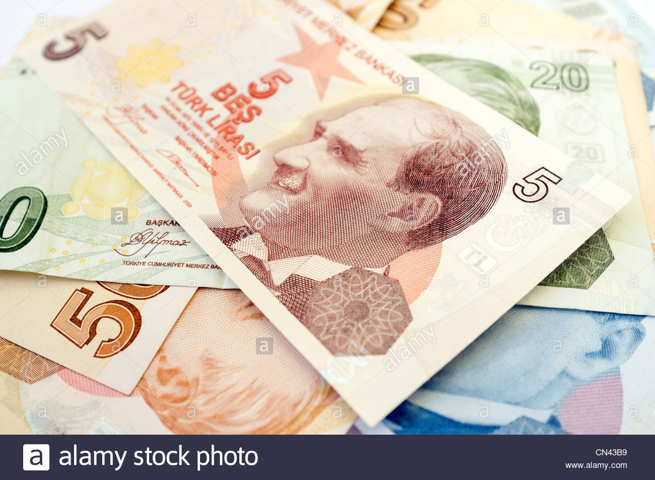 Turkish lira bank notes Stock Photo