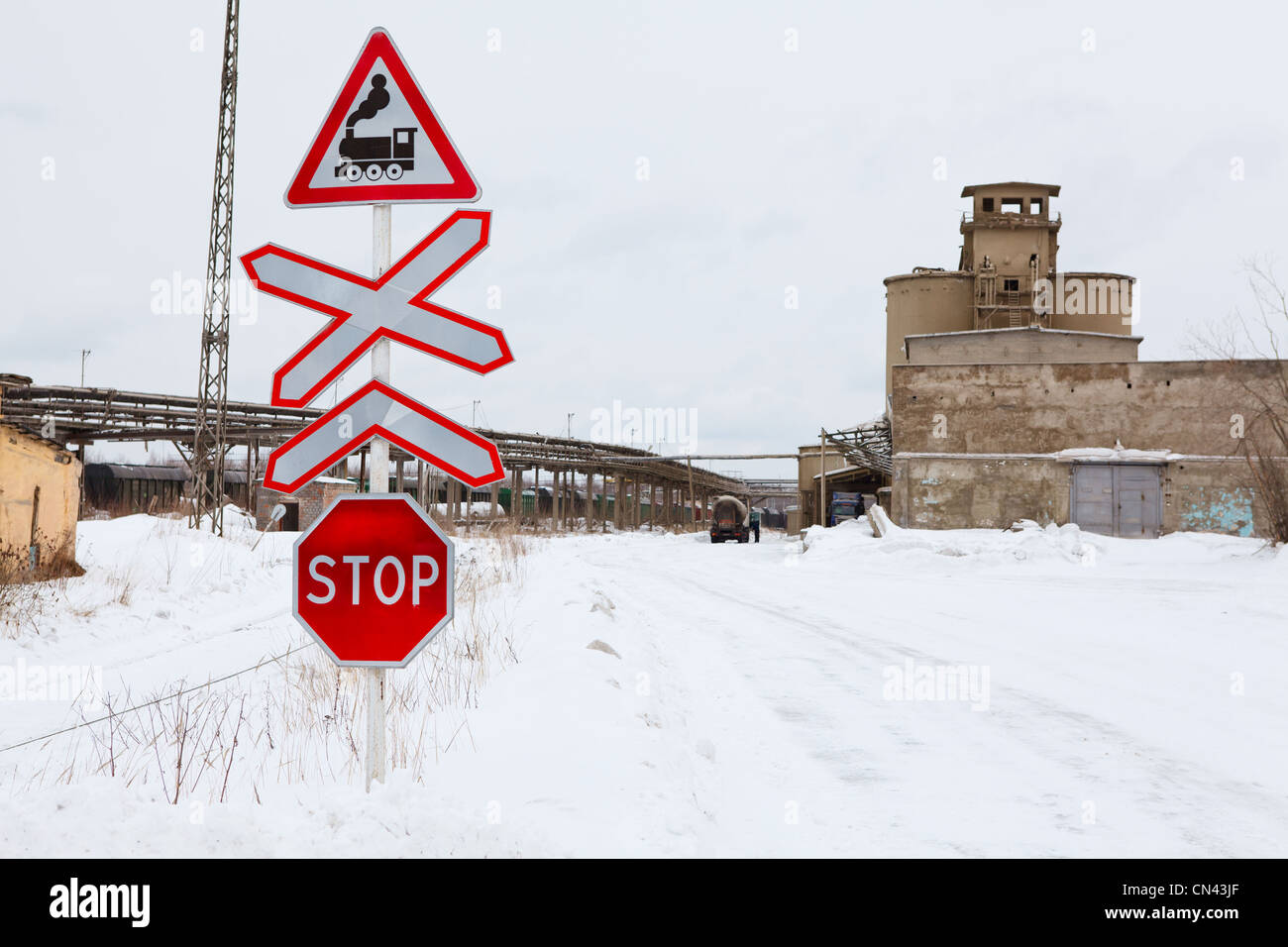 Stop Sign Before The Railway Crossing Winter Season In Russia Stock