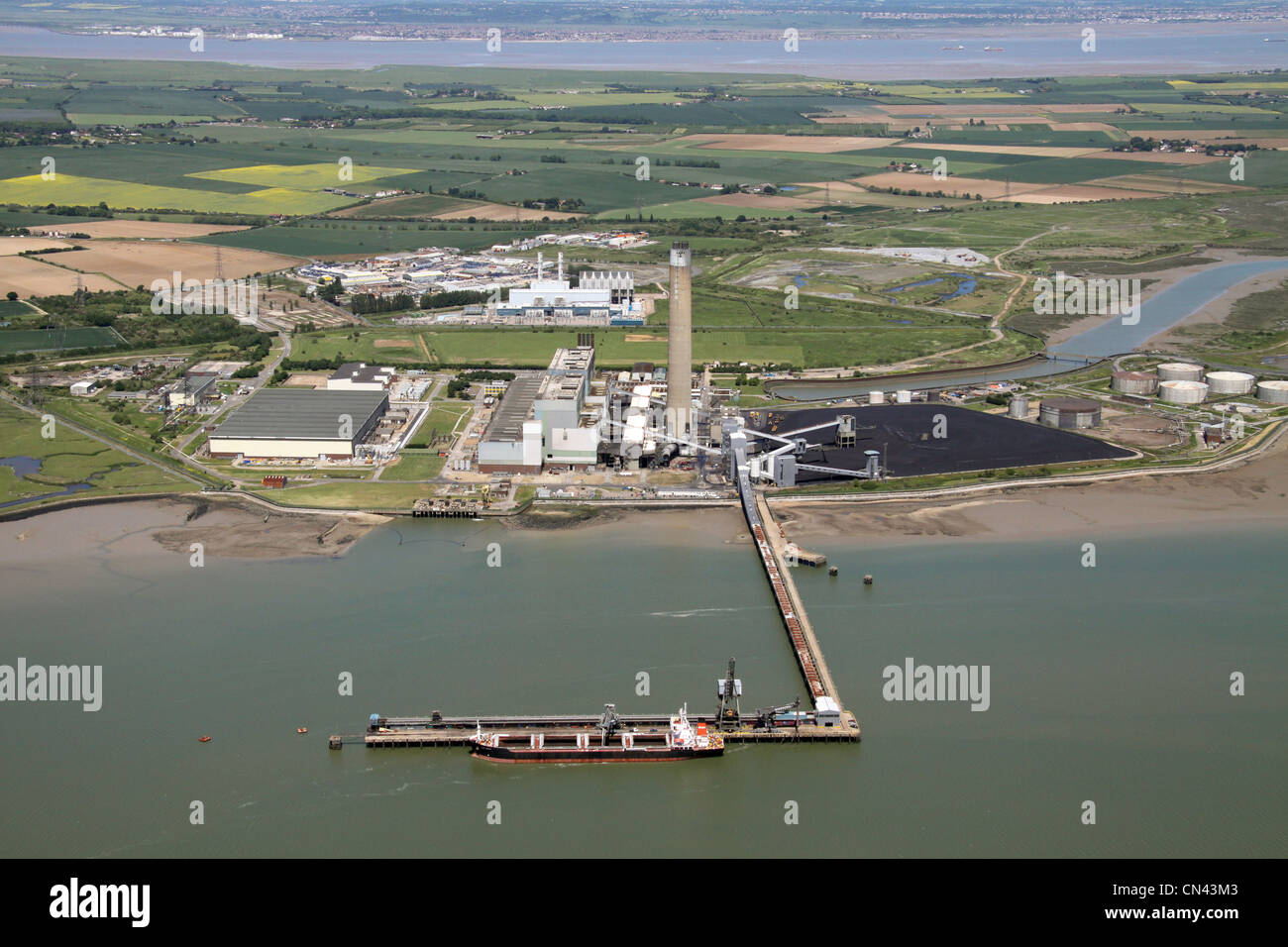 Aerial view of Kingsnorth Power Station and Jetty, River Medway, Kent - Stock Image