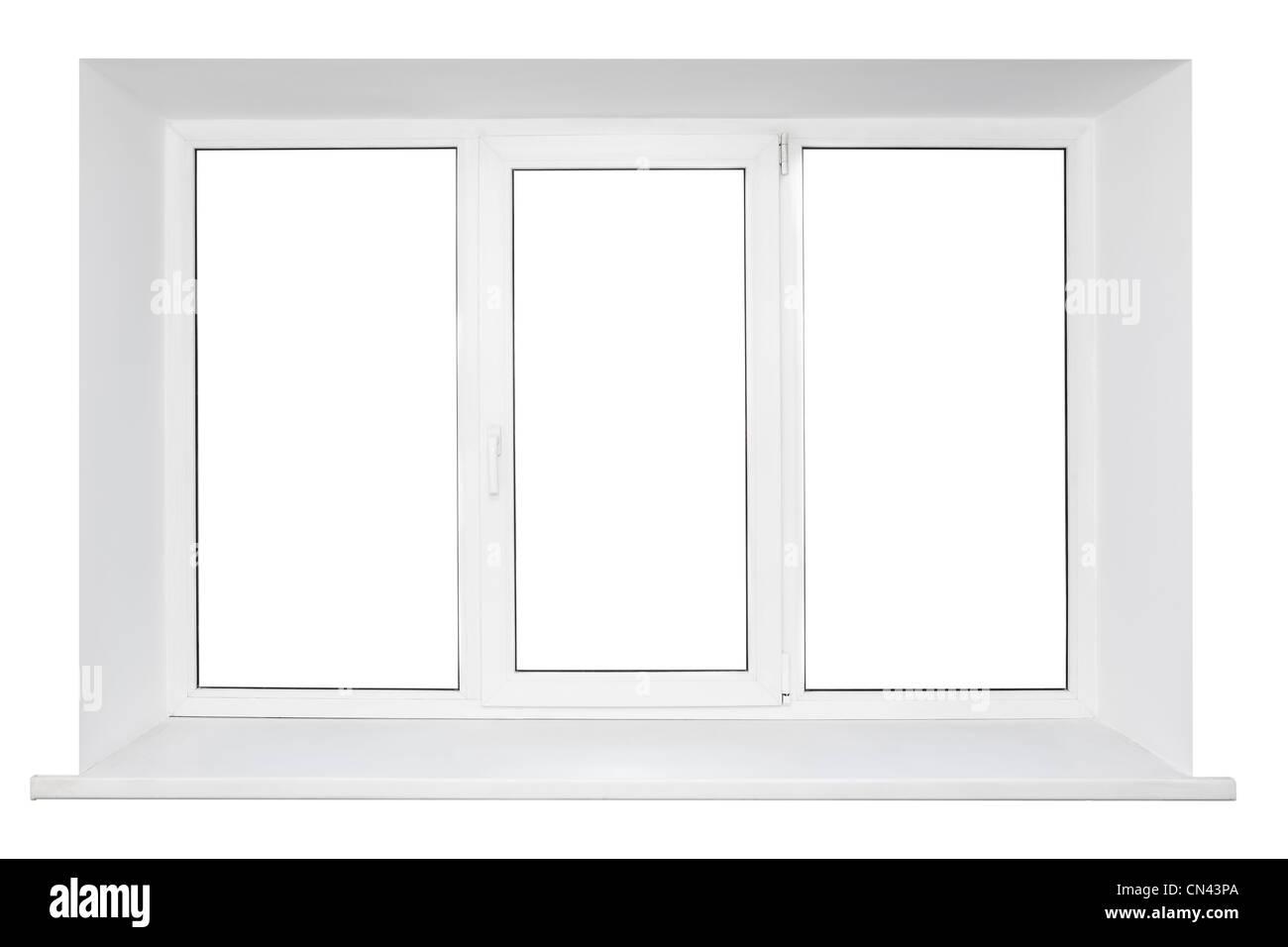 White plastic triple doors window frame with windowsill isolated on ...