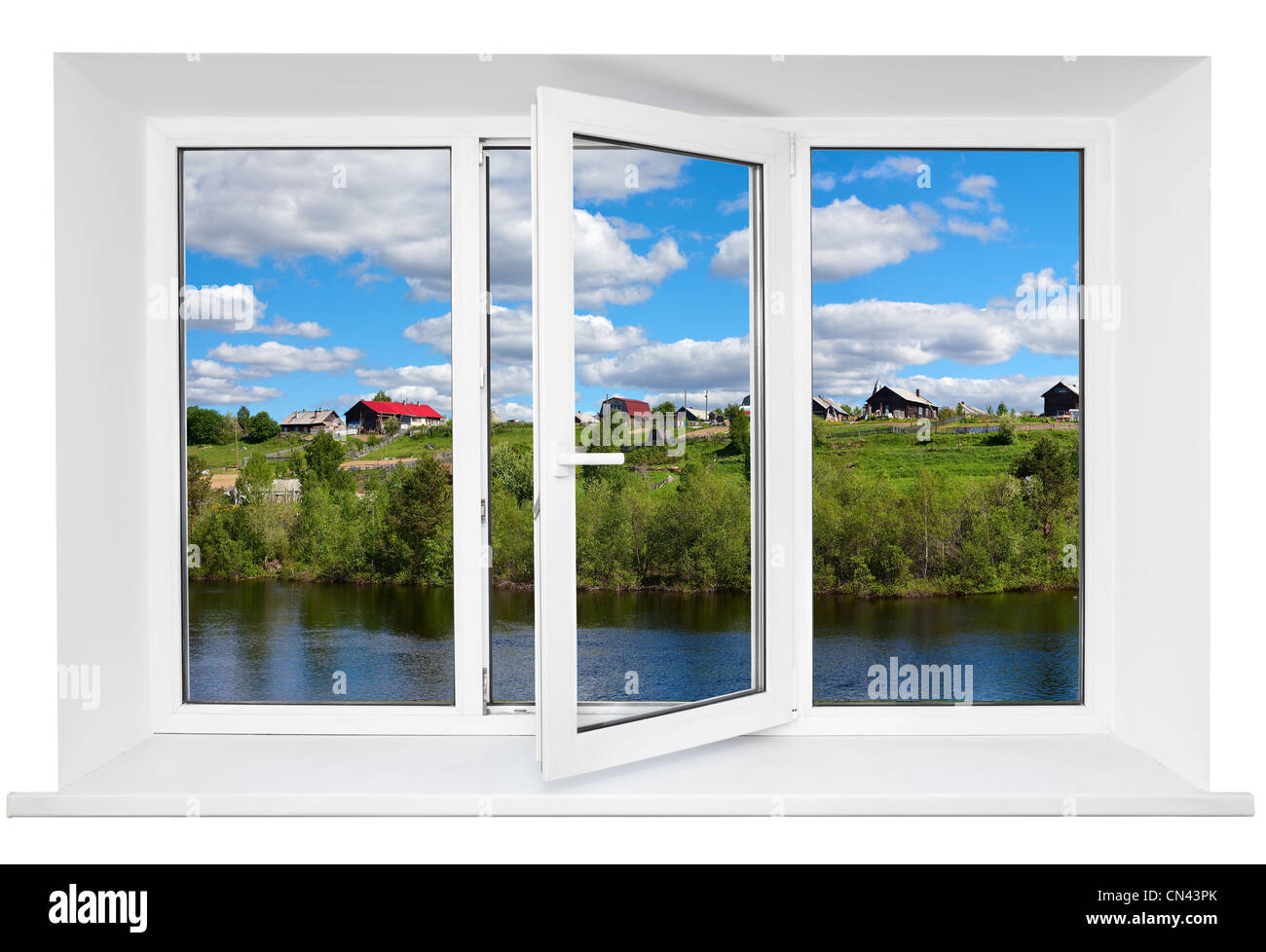 White plastic triple doors window frame with tranquil landscape in ...