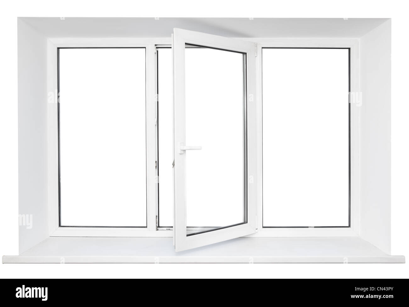 White plastic triple doors window frame with windowsill and opened one middle door isolated on white background Stock Photo