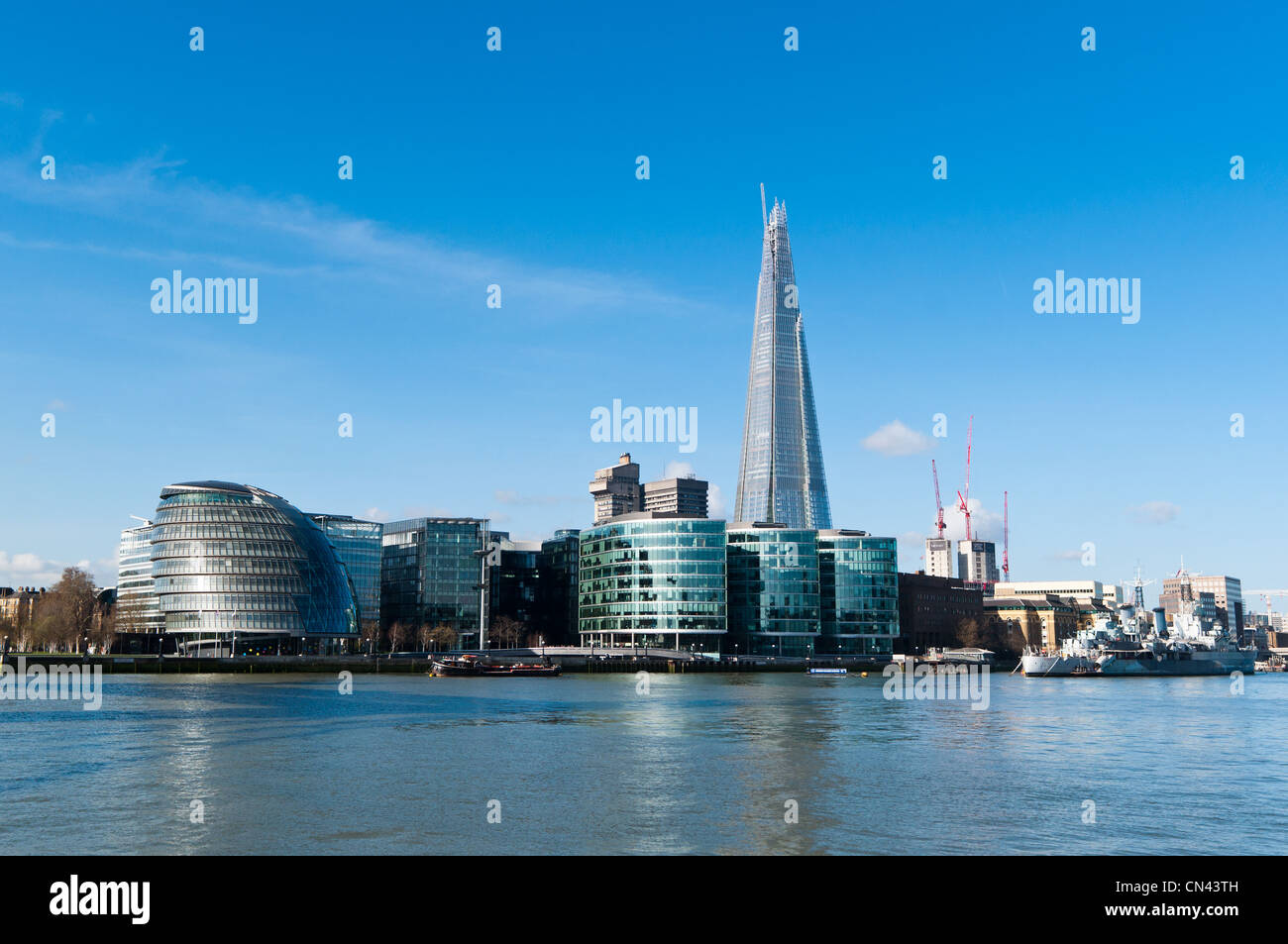 The Shard and City Hall amongst new buildings on the south bank of the river Thames. London. Stock Photo