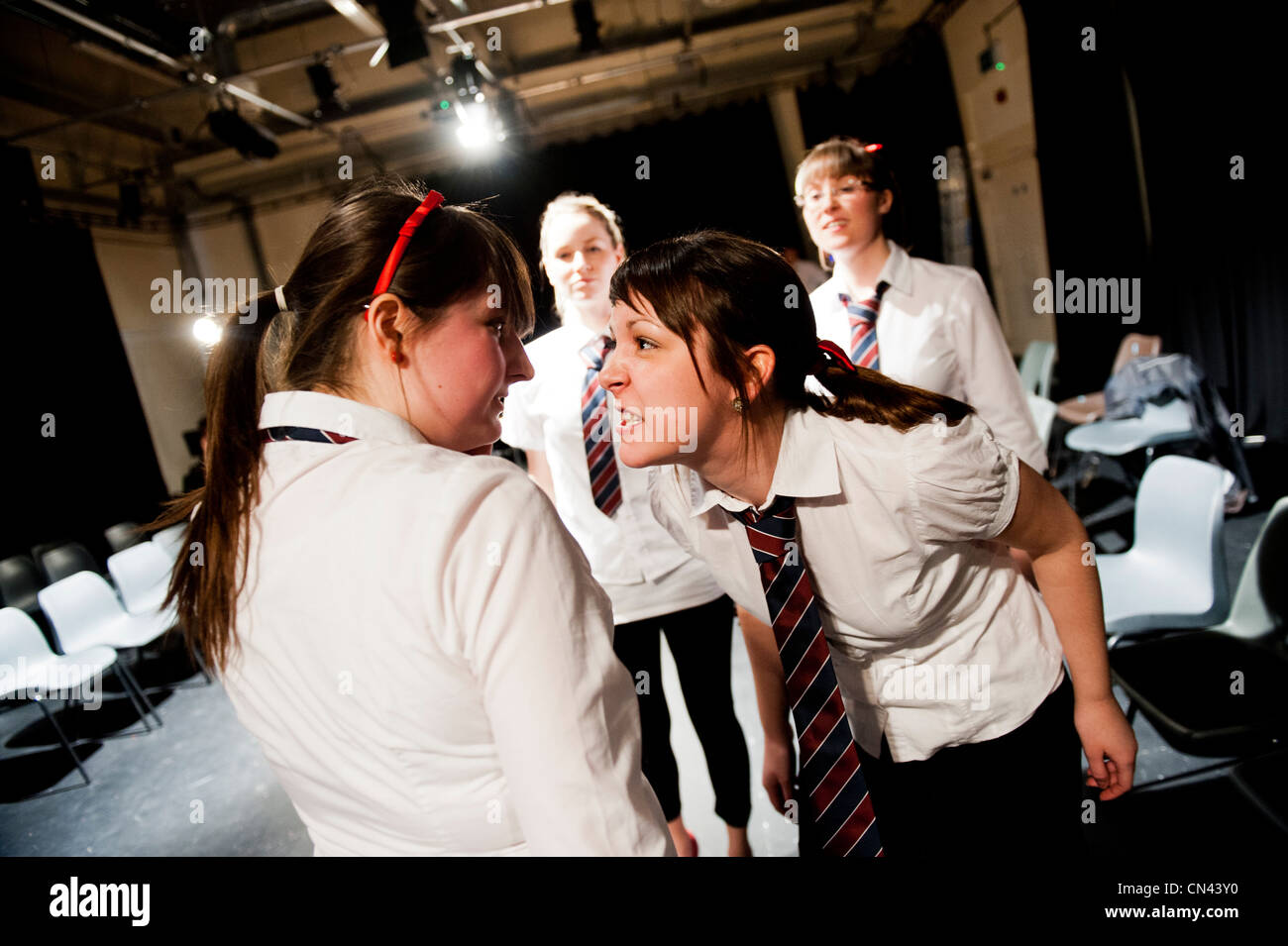 Undergraduate students acting in the Theatre Film and Television department, Aberystwyth University, Wales UK - Stock Image