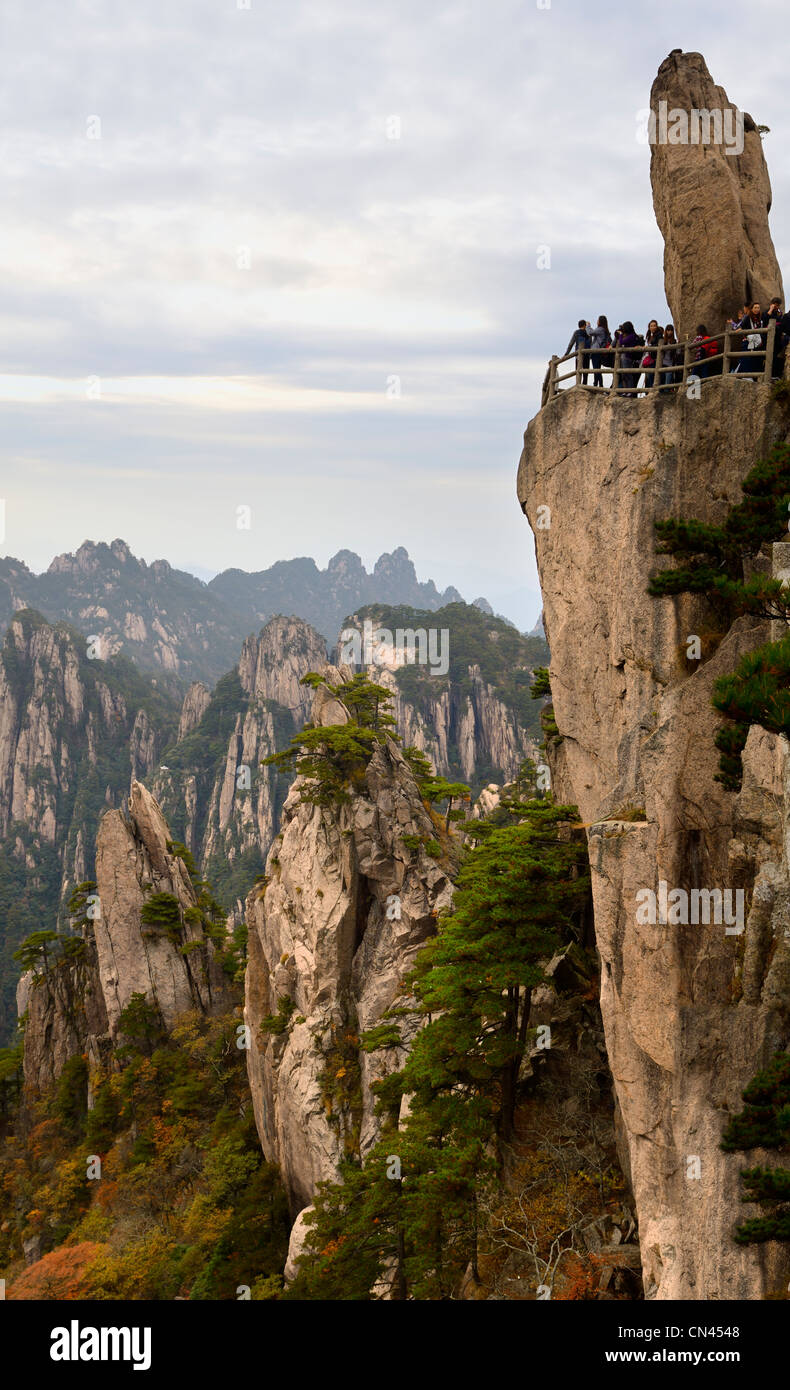 Mystical Peak Flying From Afar at West Sea Grand Canyon area of Huangshan Yellow Mountain China Stock Photo